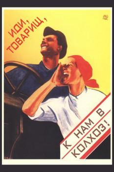 176. Советский плакат: Иди, товарищ, к нам в колхоз!
