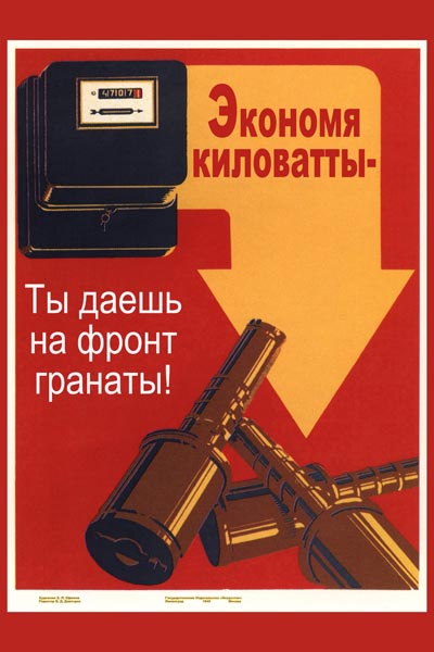 275. Советский плакат: Экономя киловатты - ты даешь на фронт гранаты!