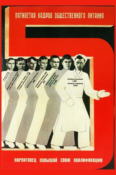 282. Советский плакат: Нарпитовец повышай свою квалификацию