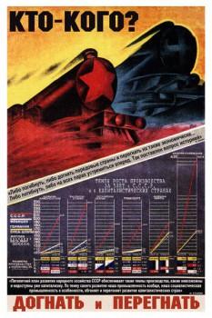 321. Советский плакат: Кто кого? Догнать и перегнать.