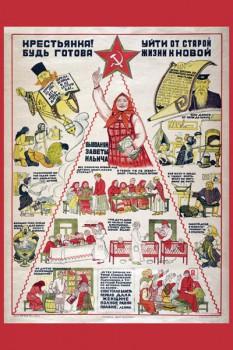 336. Советский плакат: Крестьянка! Будь готова уйти от старой жизни к новой.