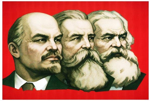 691. Советский плакат: Маркс, Энгельс, Ленин