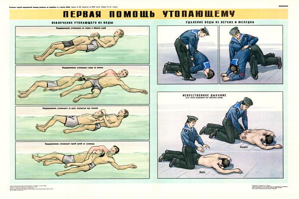 0353. Военный ретро плакат: Первая помощь утопающему