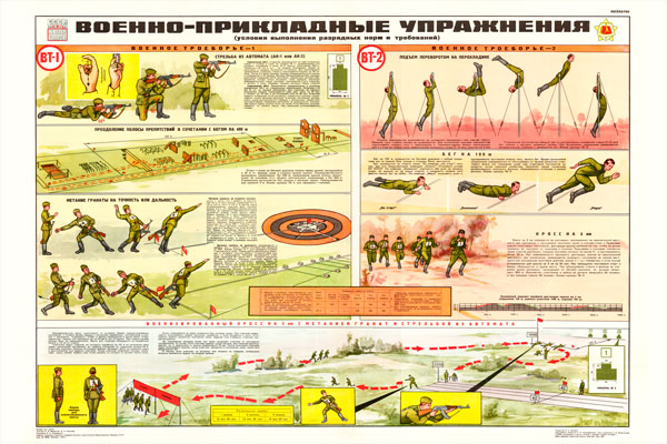 0694. Военный ретро плакат: Военно-прикладные упражнения