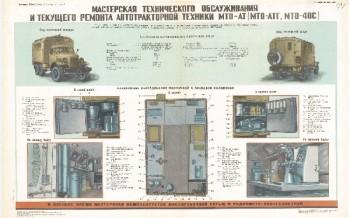 0888. Военный ретро плакат: Мастерская технического обслуживания и текущего ремонта автотракторной техники МТО-АТ
