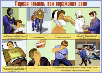 10. Плакат по гражданской обороне: Первая помощь при поражении ахов