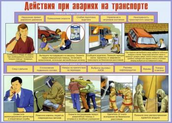 14. Плакат по гражданской обороне: Действия при авариях на транспорте
