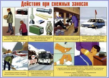 16. Плакат по гражданской обороне: Действия при снежных заносах