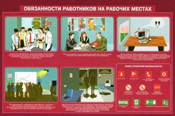 29. Плакат по пожарной безопасности: Обязанности работников на рабочих местах