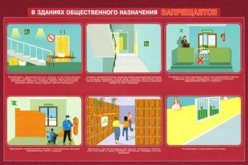 30. Плакат по пожарной безопасности: В зданиях общественного назначения запрещается (часть 1)