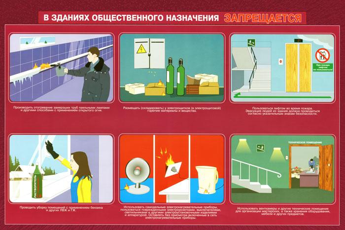 31. Плакат по пожарной безопасности: В зданиях общественного назначения запрещается (часть 2)
