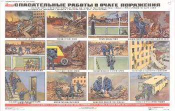 53. Плакат по гражданской обороне: Спасательные работы в очаге поражения