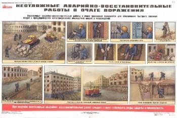 54. Плакат по гражданской обороне: Неотложные аварийно-восстановительные работы в очаге поражения