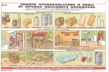 57. Плакат по гражданской обороне: Защита продовольствия и воды от оружия массового поражения