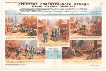 61. Плакат по гражданской обороне: Действие спасательного отряда в очаге ядерного поражения ч. 2