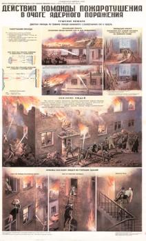 67. Плакат по гражданской обороне: Действие команды пожаротушения в очаге ядерного поражения