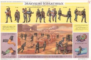 63. Плакат по гражданской обороне: Эвакуация пораженных
