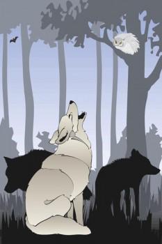 006. Детский плакат: Волки на рассвете
