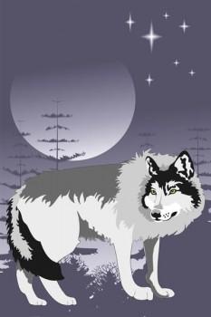 011. Детский плакат: Одинокий волк на фоне луны