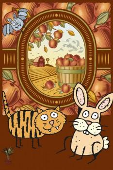 012. Детский плакат: Осенние фантазии, кот и мышь на фоне погреба