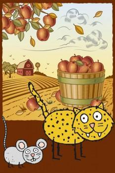 013. Детский плакат: Осенние фантазии, кот и мышь