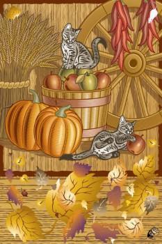 014. Детский плакат: Котята. Осенние фантазии