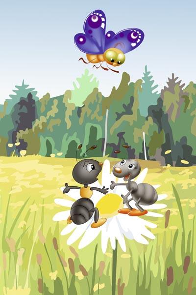 017. Детский плакат: На лугу