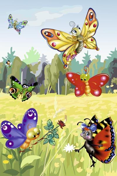 019. Детский плакат: Бабочки на лужайке