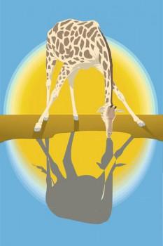 023. Детский плакат: Жираф на водопое