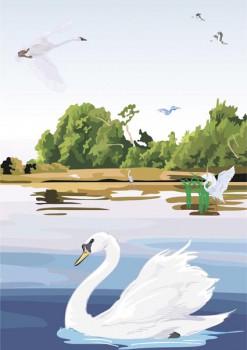 024. Детский плакат: Гуси - лебеди