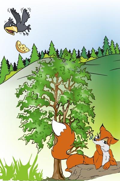 025. Детский плакат: Фантазия на тему: Ворона и лисица