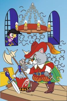 027. Детский плакат: Фантазия на тему: Кот в сапогах, в замке