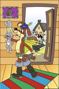 030. Детский плакат: Фантазия на тему: Простоквашино, пёс Шарик с зайцем безымянным