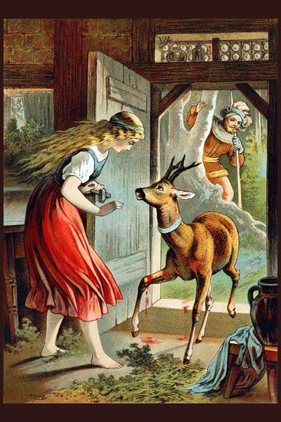 047. Детский плакат: Девочка и олененок (по мотивам сказок Ш. Перро)