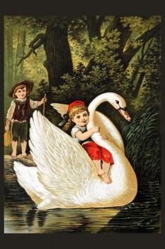 048. Детский плакат: Девочка и лебедь (по мотивам сказок Ш. Перро)