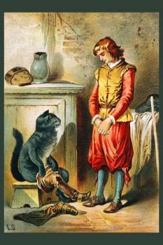 051. Детский плакат: Кот в сапогах в доме