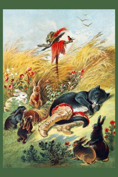 052. Детский плакат: Кот в сапогах. На привале
