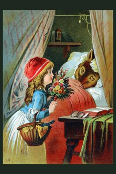 054. Детский плакат: Красная шапочка у бабушки
