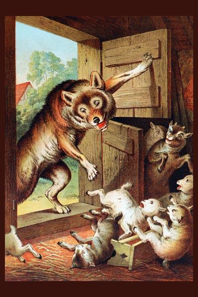 055. Детский плакат: Волк и семеро козлят
