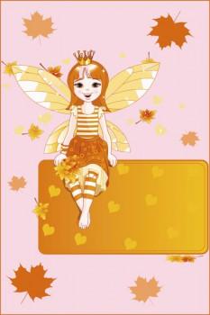 057. Детский плакат: Девушка в листьях. Поздравление