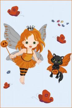 058. Детский плакат: Крылатые девушка с кошкой. Поздравление