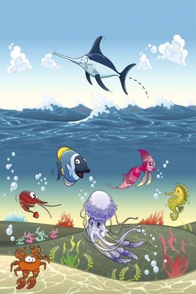 060. Детский плакат: Морской мир