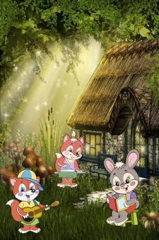 061. Детский плакат: В лесу