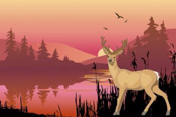 065. Детский плакат: Пейзаж с оленем