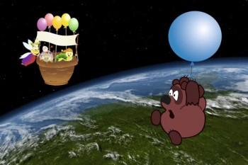079. Детский плакат: Винни Пух в открытом космосе