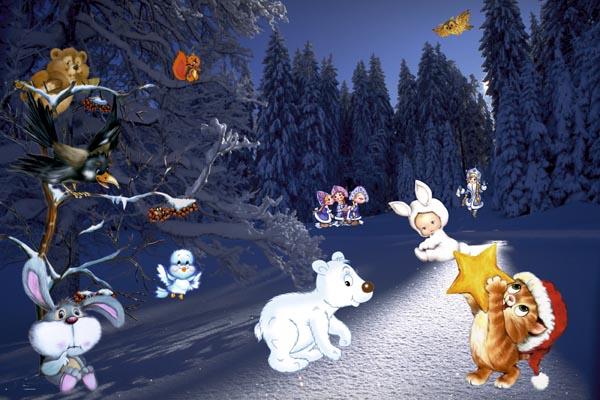 080. Детский плакат: Зимнии фантазии