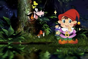 082. Детский плакат: Гномик в лесу