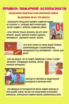 115. Плакат для детского сада: Правила пожарной безопасности (1)