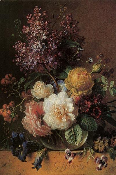 004. Живопись: Розы с сиренью. Художник Georgius Jacobus Johannes Van Os
