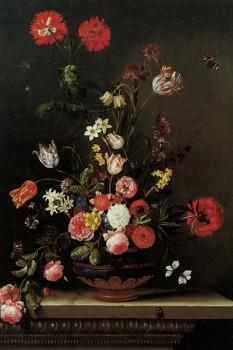 009. Живопись: Ainda-vida das flores em uma bord